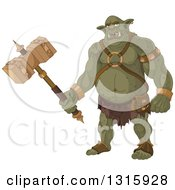 Cartoon Ugly Ogre Warrior Holding A Club