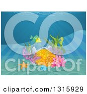 Clipart Of A Coral Reef With A Fish Starfish Seahorse And Rays Shining Down From The Surface Royalty Free Vector Illustration by Pushkin