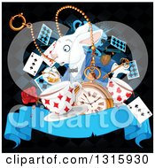 Clipart Of The White Rabbit Of Wonderland Looking At His Watch Over A Clock Playing Cards Key Stop Watch Rose And Aged Ribbon Banner On Black Royalty Free Vector Illustration by Pushkin