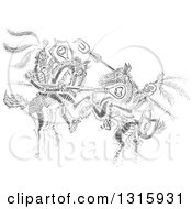 Clipart Of A Gray Sketch Of Jousting Knights Royalty Free Vector Illustration by Zooco