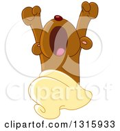 Clipart Of A Cartoon Cute Teddy Bear Yawning Upon Waking Royalty Free Vector Illustration
