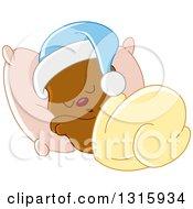 Cartoon Cute Teddy Bear Wearing A Cap And Sleeping Against A Pillow