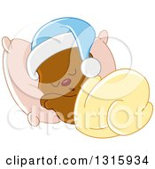 Clipart Of A Cartoon Cute Teddy Bear Wearing A Cap And Sleeping Against A Pillow Royalty Free Vector Illustration
