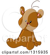 Clipart Of A Cartoon Cute Teddy Bear Sitting Royalty Free Vector Illustration by yayayoyo