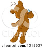 Clipart Of A Cartoon Rear View Of A Teddy Bear Drawing On A Wall Royalty Free Vector Illustration by yayayoyo