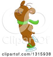 Clipart Of A Cartoon Cute Teddy Bear Ice Skating Royalty Free Vector Illustration by yayayoyo