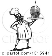 Clipart Of A Black And White Woodcut Male Chef Holding A Skull Day Of The Dead Cake With A Candle Royalty Free Vector Illustration by xunantunich