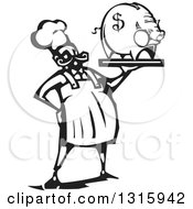 Black And White Woodcut Male Chef Holding A Piggy Bank On A Tray