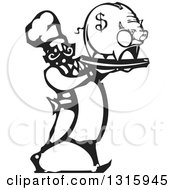 Black And White Woodcut Male Chef Walking With A Piggy Bank On A Tray