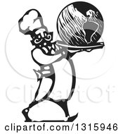 Clipart Of A Black And White Woodcut Male Chef Serving Earth On A Platter Royalty Free Vector Illustration