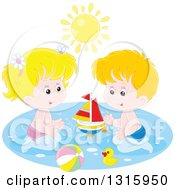 Clipart Of A Caucasian Boy And Girl Playing With A Sailboat Beach Ball And Rubber Duck In A Swimming Pool Under A Summer Sun Royalty Free Vector Illustration by Alex Bannykh
