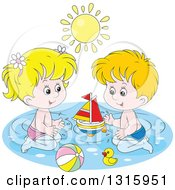 Cartoon White Boy And Girl Playing With A Sailboat Beach Ball And Rubber Duck In A Swimming Pool Under A Summer Sun