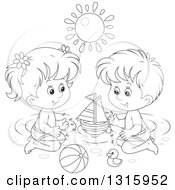 Outline Clipart Of A Cartoon Black And White Boy And Girl Playing With Toys In A Swimming Pool Under A Summer Sun Royalty Free Lineart Vector Illustration by Alex Bannykh