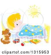 Clipart Of A Cartoon Caucasian Boy Looking At A Puppy With One Eye While Trying To Go To Sleep Royalty Free Vector Illustration