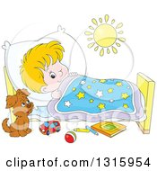 Clipart Of A Cartoon White Boy Looking At A Puppy With One Eye While Trying To Go To Sleep Royalty Free Vector Illustration