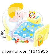 Clipart Of A Cartoon Caucasian Boy Stretching In Bed After Waking Up Royalty Free Vector Illustration by Alex Bannykh
