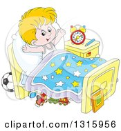 Clipart Of A Cartoon White Boy Stretching In Bed After Waking Up Royalty Free Vector Illustration