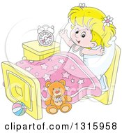 Clipart Of A Cartoon Blond White Girl Stretching In Her Bed After Waking Up Royalty Free Vector Illustration