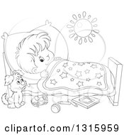 Outline Clipart Of A Cartoon Black And White Boy Looking At A Puppy With One Eye While Trying To Go To Sleep Royalty Free Lineart Vector Illustration