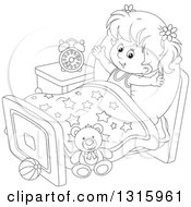 Outline Clipart Of A Cartoon Black And White Girl Stretching In Her Bed After Waking Up Royalty Free Lineart Vector Illustration by Alex Bannykh
