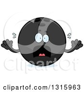 Clipart Of A Cartoon Scared Black Bowling Ball Character Screaming Royalty Free Vector Illustration