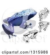 Clipart Of 3d Colored And Black And White Blue Poison Dart Frogs With Shadows Royalty Free Vector Illustration by dero