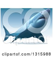 Clipart Of A 3d Swimming Great White Shark Over Gradient Blue Royalty Free Vector Illustration by dero