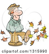 Clipart Of A Cartoon Happy Red Haired White Man Kicking Up Some Autumn Leaves Royalty Free Vector Illustration