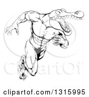 Lineart Clipart Of A Black And White Tough Muscular Alligator Man Running Upright Royalty Free Outline Vector Illustration by AtStockIllustration