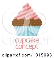 Clipart Of A Flat Design Chocolate Cupcake With Pink Frosting And A Blue Wrapper Over Sample Text Royalty Free Vector Illustration by AtStockIllustration