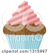 Clipart Of A Flat Design Chocolate Cupcake With Pink Frosting And A Blue Wrapper Royalty Free Vector Illustration by AtStockIllustration