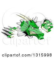 Clipart Of A Vicious Green Dragon Mascot Head Shredding Through A Wall Royalty Free Vector Illustration