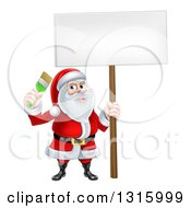 Clipart Of A Christmas Santa Claus Holding A Paintbrush And Sign Royalty Free Vector Illustration