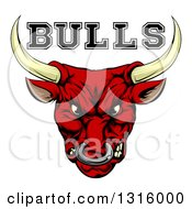 Clipart Of A Mad Snarling Red Bull Mascot Head And Text Royalty Free Vector Illustration
