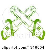 Clipart Of Gradient Green Crossed Chainsaws Royalty Free Vector Illustration by AtStockIllustration