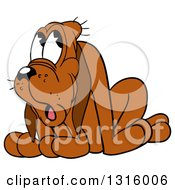 Cartoon Ashamed Brown Hound Dog