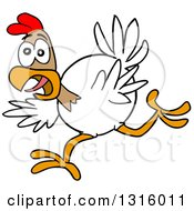 Clipart Of A Cartoon Excited White And Brown Chicken Running Royalty Free Vector Illustration