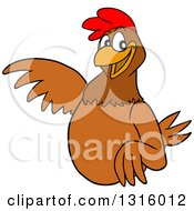 Clipart Of A Cartoon Brown Chicken Pointing To The Left Royalty Free Vector Illustration