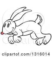 Cartoon Happy White Rabbit Hopping To The Left
