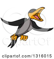 Clipart Of A Cartoon Crow Black Bird Flying And Cawing Royalty Free Vector Illustration by LaffToon