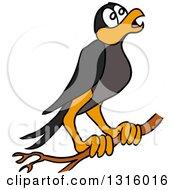 Cartoon Crow Black Bird Preched On A Branch