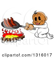 Clipart Of A Cartoon Black Baby Boy Cooking Sausages Over A Camp Fire Royalty Free Vector Illustration by LaffToon