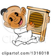 Cartoon Black Baby Boy Sitting And Playing A Washboard Like An Instrument