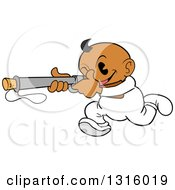 Clipart Of A Cartoon Black Baby Boy Running And Aiming A Popgun Rifle Royalty Free Vector Illustration by LaffToon