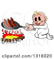 Cartoon White Baby Boy Cooking Sausages Over A Camp Fire