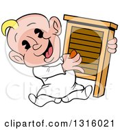 Clipart Of A Cartoon White Baby Boy Sitting And Playing A Washboard Like An Instrument Royalty Free Vector Illustration