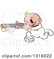 Clipart Of A Cartoon White Baby Boy Running And Aiming A Popgun Rifle Royalty Free Vector Illustration by LaffToon