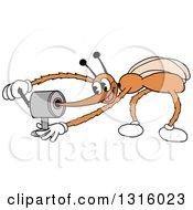 Cartoon Mosquito Sharpening His Stinger