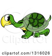 Cartoon Happy Green Tortoise Walking To The Left