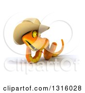 Clipart Of A 3d Orange Snake Wearing A Cowboy Hat Slithering To The Left And Looking Right Royalty Free Illustration by Julos